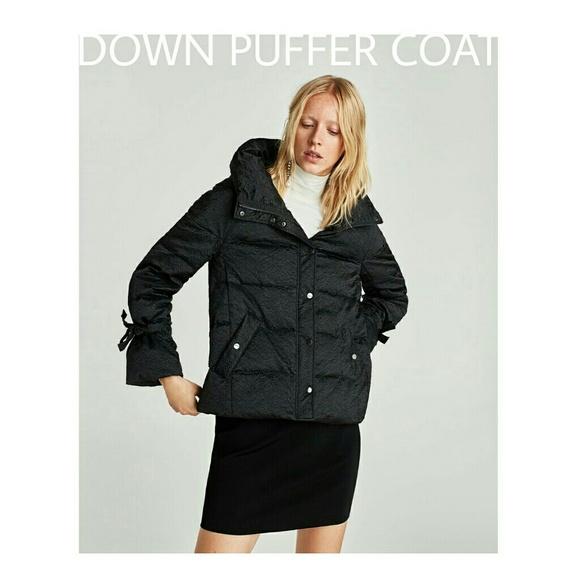 ad073932251 Zara Jackets & Coats | Textured Black Duck Down Puffer Coat | Poshmark